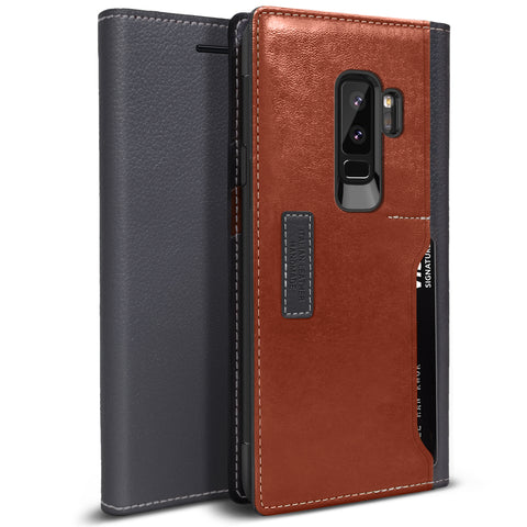OBLIQ Galaxy S9 Plus Case K3 Wallet Black Gray Brown