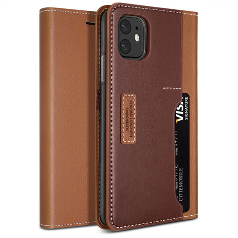 Obliq iPhone 11 Case K3 Wallet Brown Burgundy