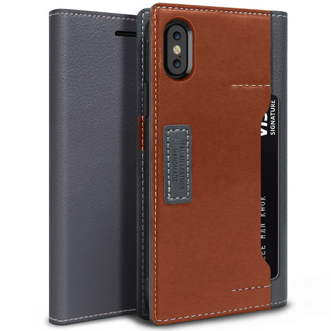 OBLIQ iPhone XS Case K3 Wallet Black Gray Brown