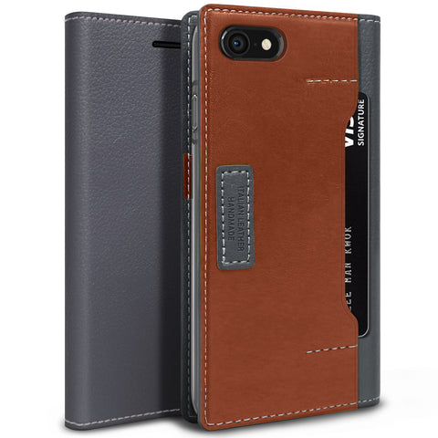 OBLIQ iPhone 8 Case K3 Wallet Black Gray Brown