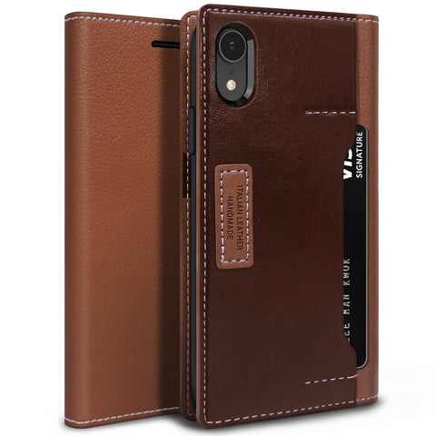 iPhone XR Case K3 Wallet Brown Burgundy