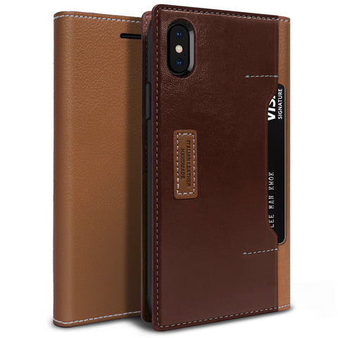 iPhone XS Max Case K3 Wallet Brown Burgundy