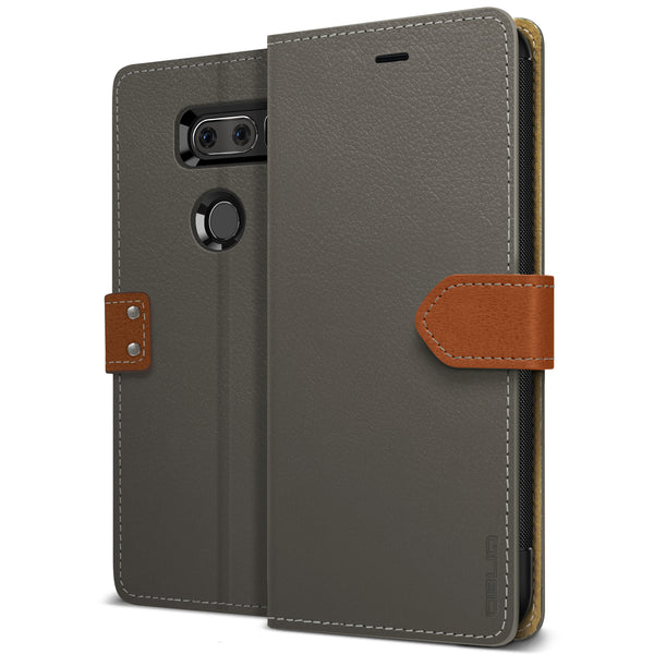 OBLIQ LG V30 Case K1 Wallet Black Gray