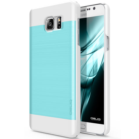 OBLIQ Galaxy Note 5 Case Slim Meta Aqua Blue and White