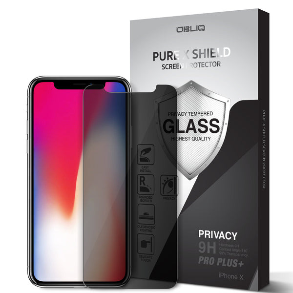 OBLIQ iPhone X Screen Protector Privacy Tempered Glass Protection