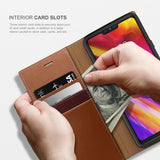 OBLIQ LG G7 ThinQ Case K3 Wallet Brown Burgundy