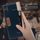OBLIQ iPhone X Case K3 Wallet Mud Gray Navy