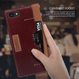 OBLIQ iPhone 7 Case K3 Wallet Brown Burgundy