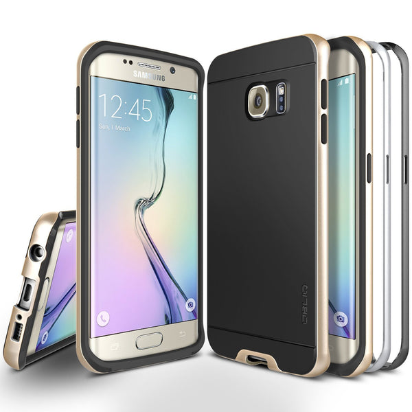 OBLIQ Galaxy S6 Edge Case Dual Poly Bumper Gold Platinum and Satin Silver and Black Sapphire