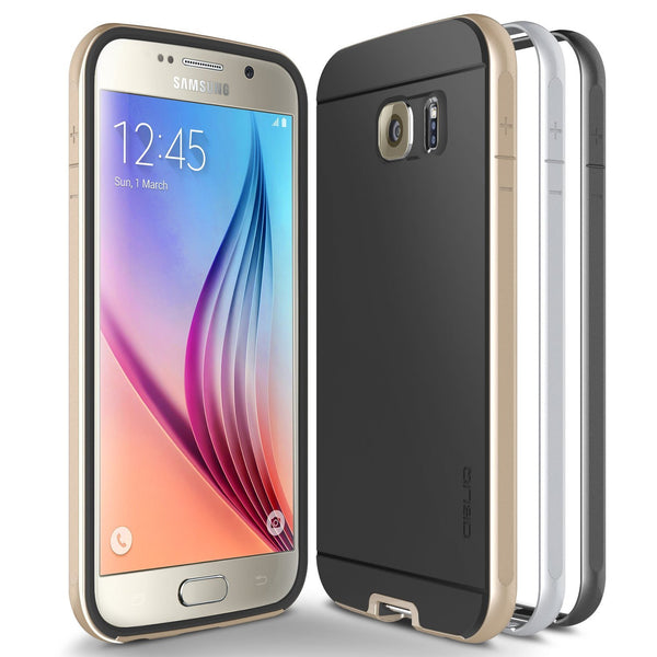 OBLIQ Galaxy S6 Case Dual Poly Bumper Gold Platinum and Satin Silver and Black Sapphire