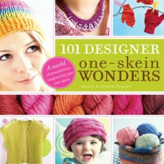 "Colorful cover of ""101 Designer, One-Skein Wonders"" book featuring people wearing hats and other knitted items."