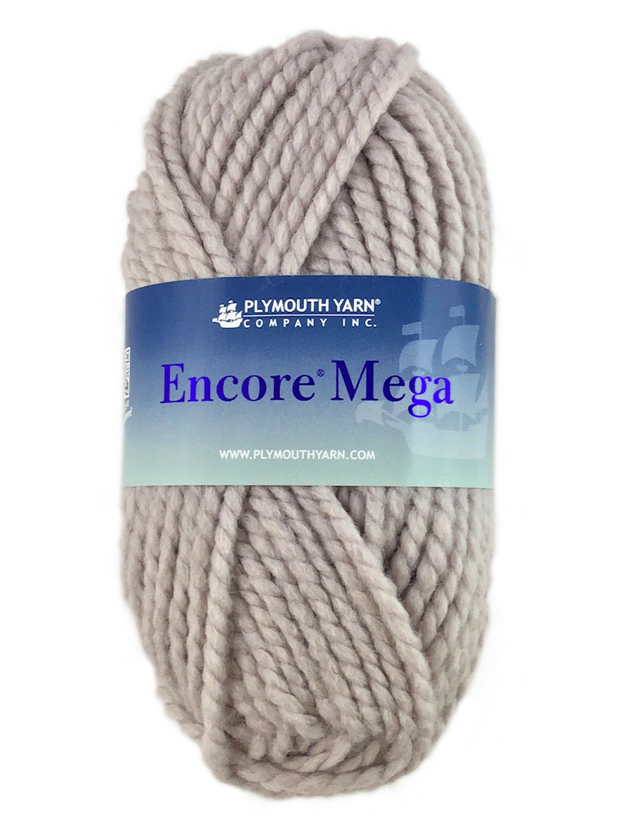A gray skein of Plymouth Encore Mega yarn