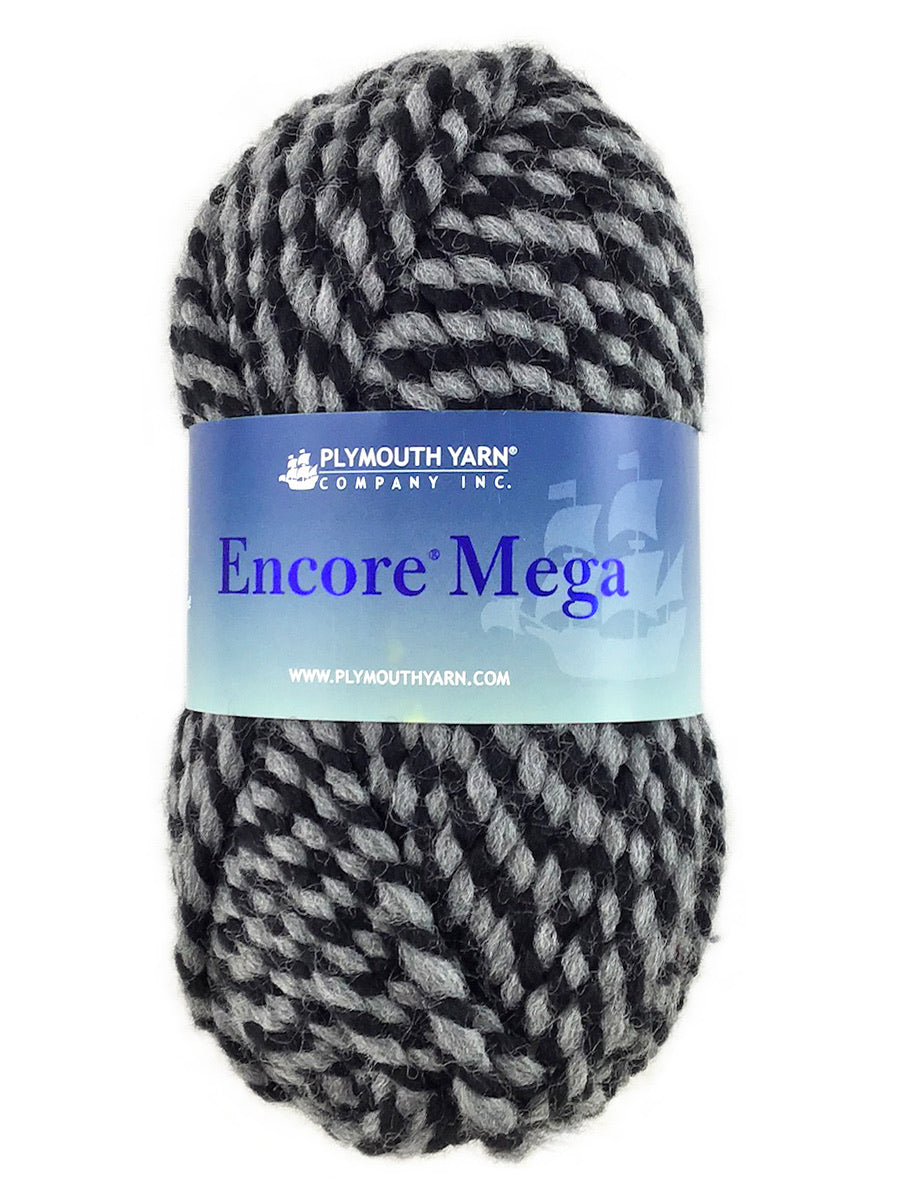 A black and gray skein of Plymouth Encore Mega