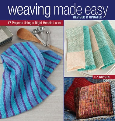 "Cover of ""Weaving Made Easy"" with woven towels, pillows and dish cloths."