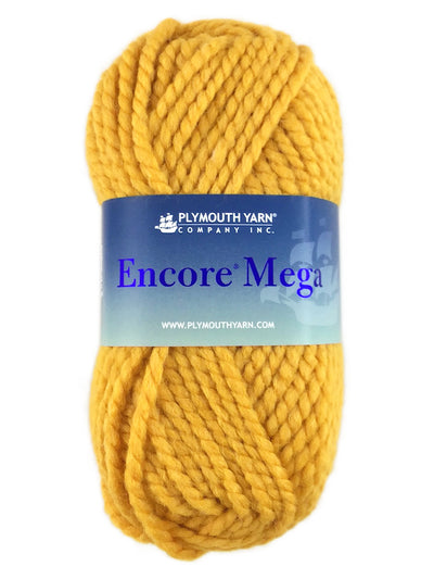 A yellow skein of Plymouth Encore Mega yarn