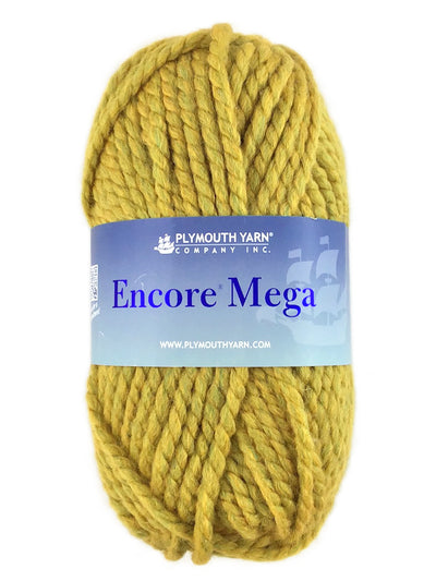 A green skein of Plymouth Encore Mega yarn