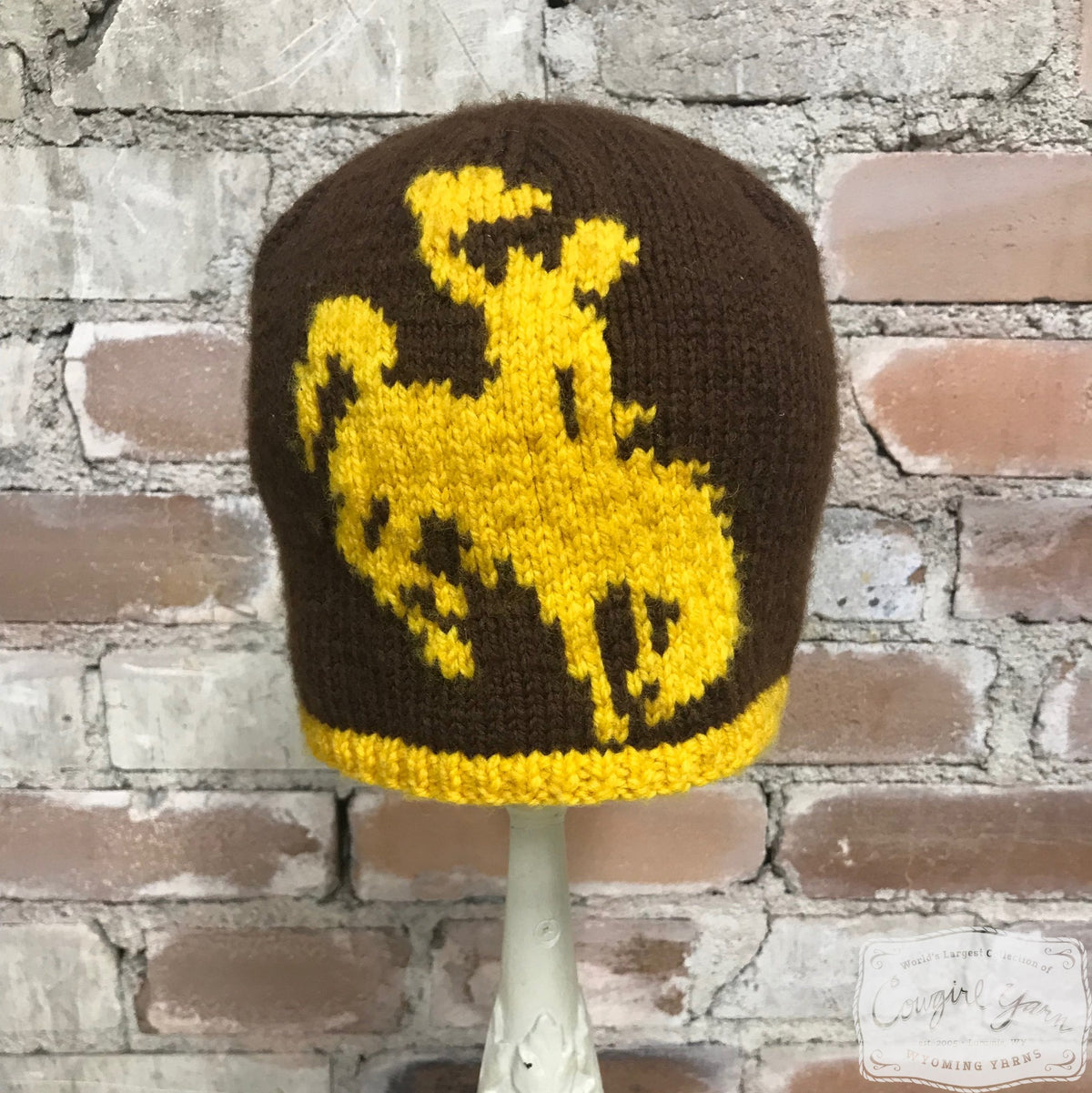 A brown and gold knitted beanie featuring the Steamboat symbol