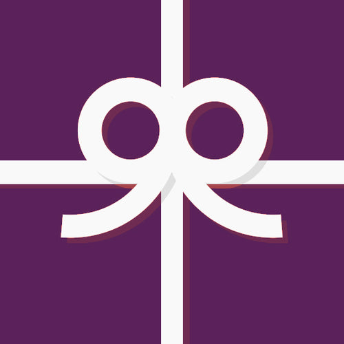 A purple gift box with a white ribbon bow.