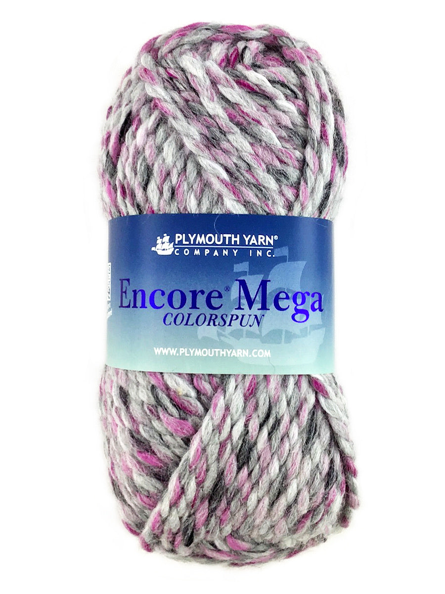 A pink gray skein of Plymouth Yarn Encore Mega Colorspun yarn