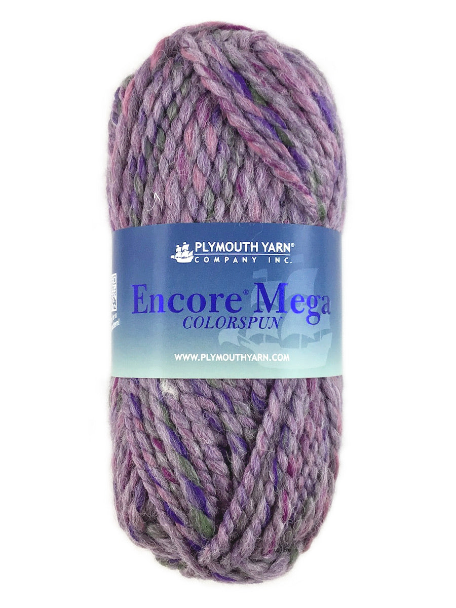 A mauve skein of Plymouth Yarn Encore Mega Colorspun yarn