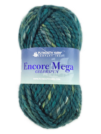 A green mix skein of Plymouth Yarn Encore Mega Colorspun yarn