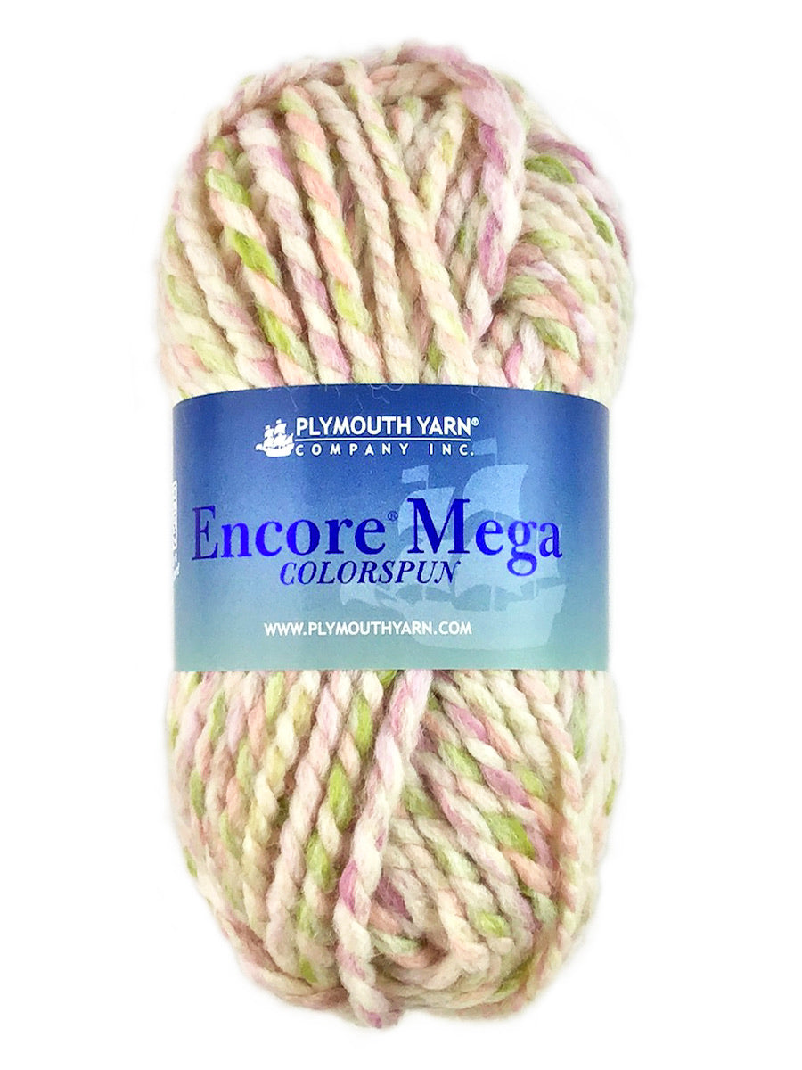 A pink green white skein of Plymouth Yarn Encore Mega Colorspun yarn
