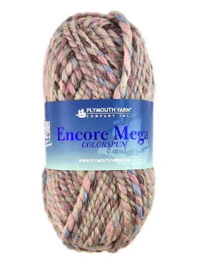A taupe pink blue skein of Plymouth Yarn Encore Mega Colorspun yarn