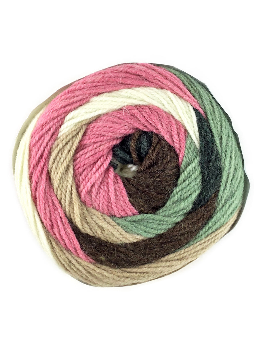 A colorful ball of Plymouth Yarns Hot Cakes yarn