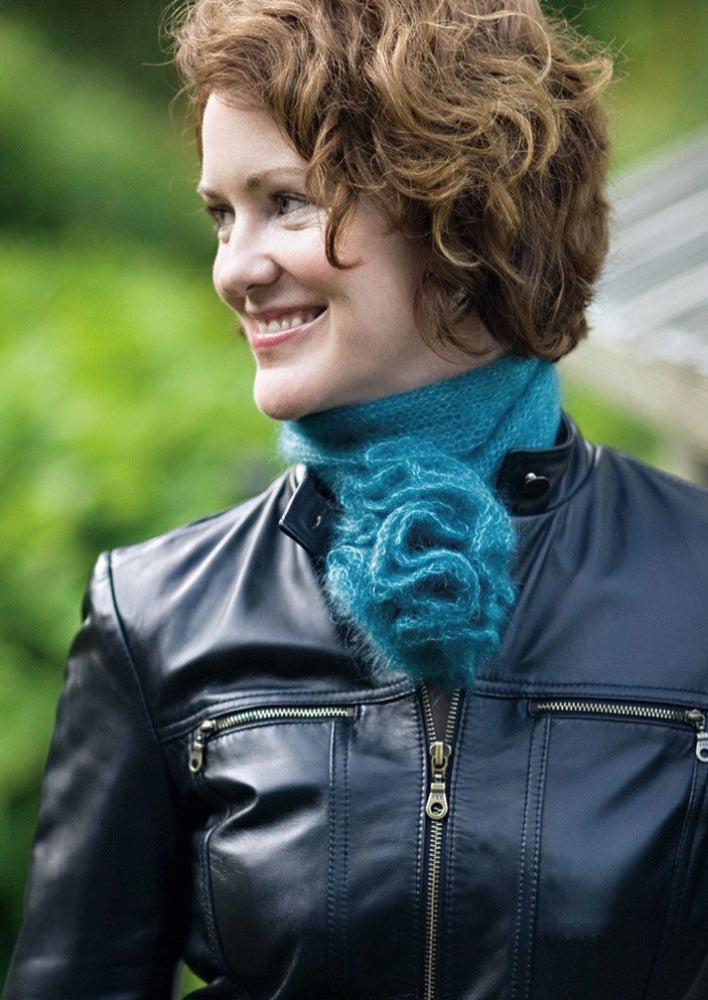 Woman wearing mohair scarf