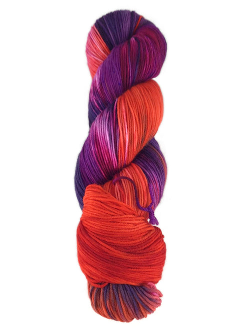 A colorful skein of Knitted Wit sock yarn