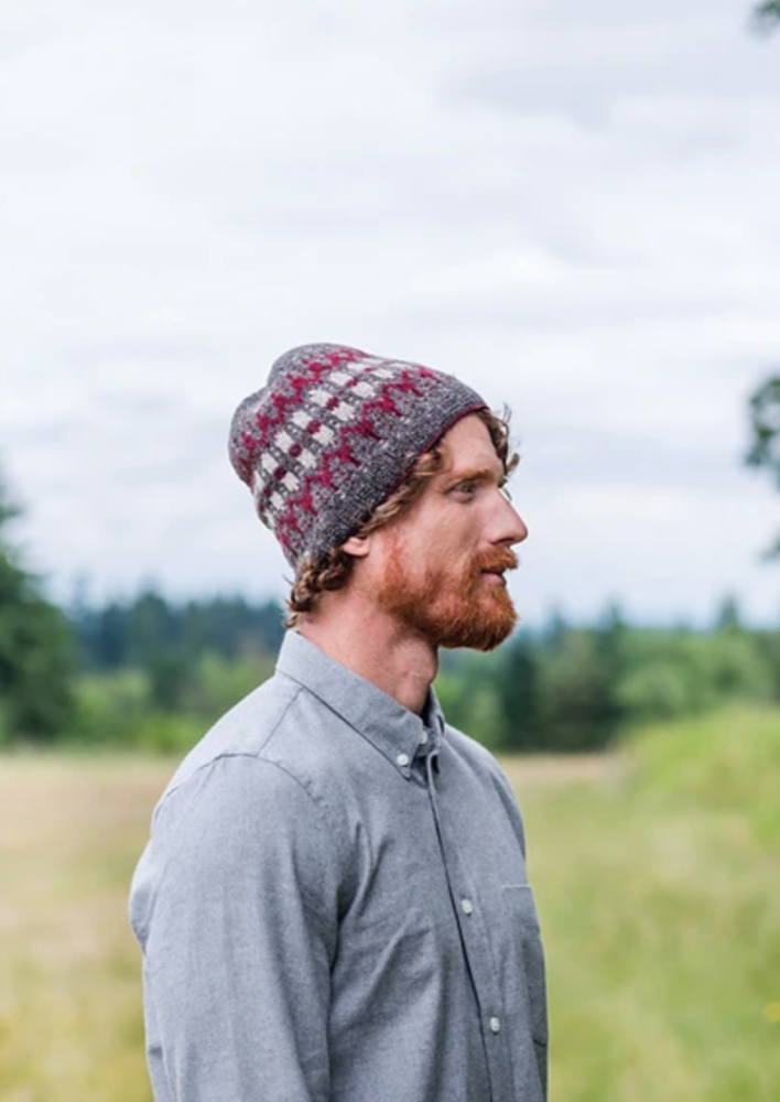 A man wearing a knitted hat