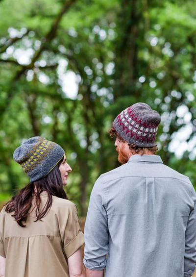 A man and woman wearing knitted hats
