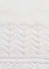 A closeup of a cream colored lace shawl