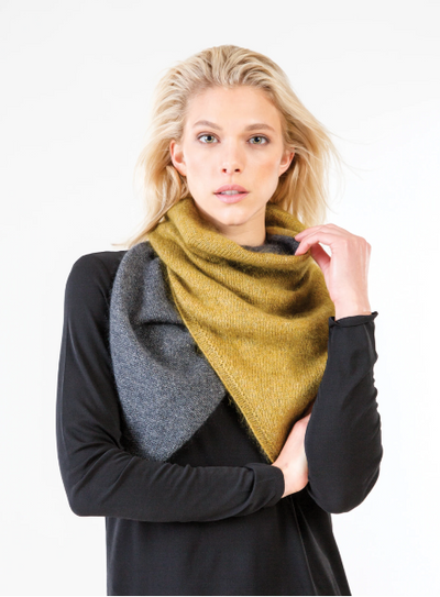 A woman modeling the Athos scarf