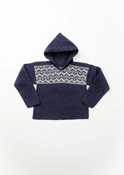 A knitted sweater with hood