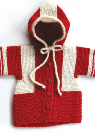 A knitted child's jacket with hood