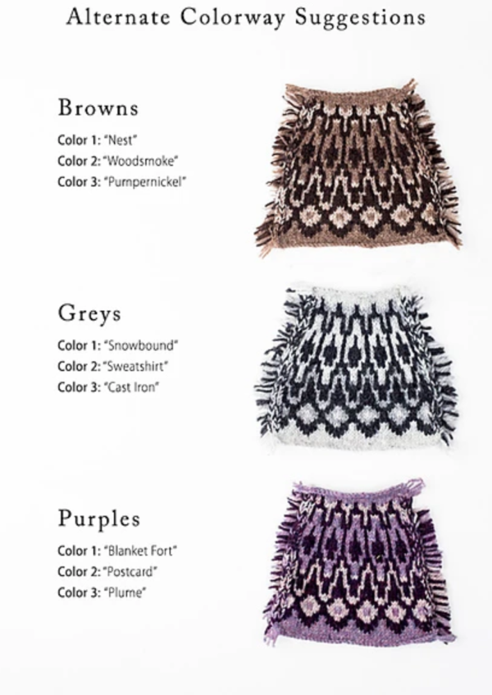 Three knitted swatches with color suggestions