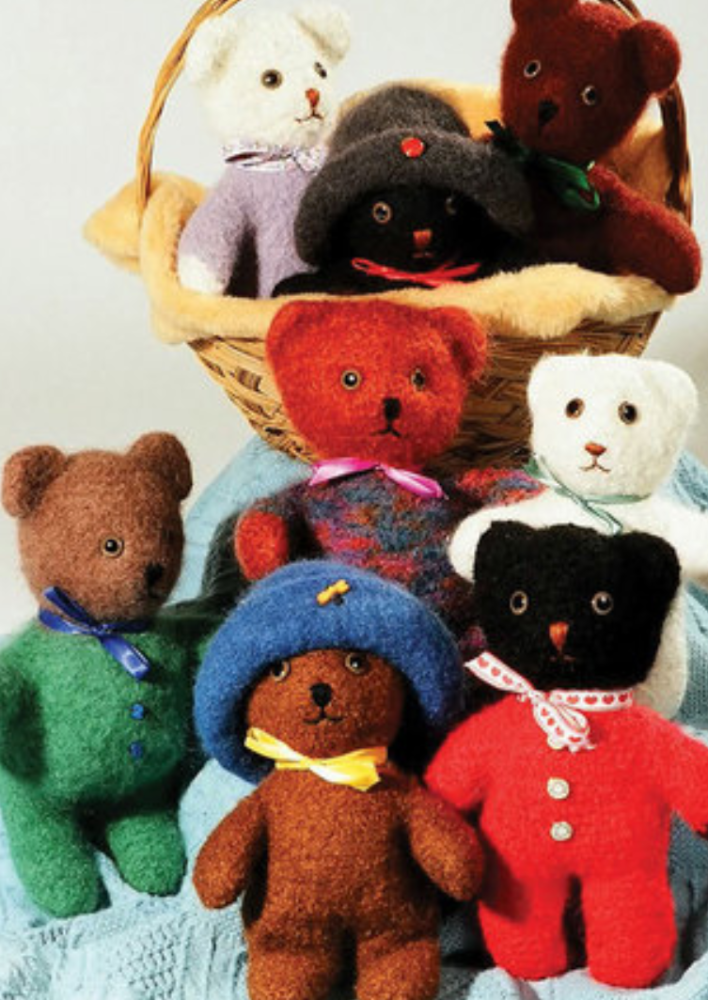 Felted teddy bears in multiple colors