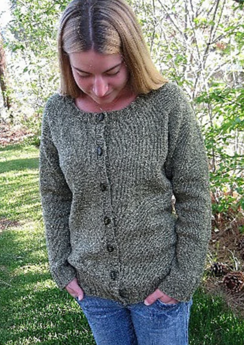 Neck Down Scoop Neck Cardigan by Knitting Pure & Simple