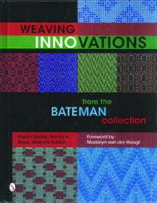 "Cover of ""Weaving Innovations"" with various colorful woven patterns"