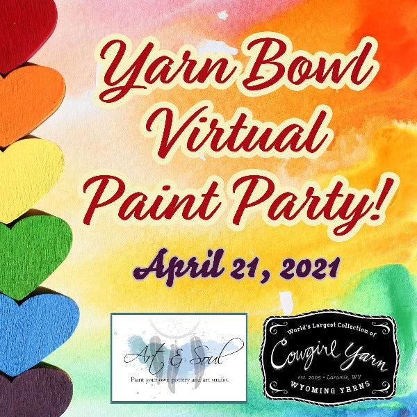 Graphic for Yarn Bowl Virtual Paint Party with rainbow hearts
