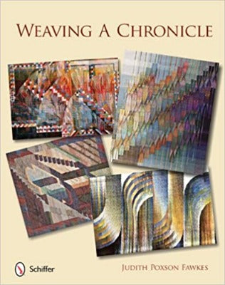 "Cover of ""Weaving a Chronicle"" with rectangles of woven textures"
