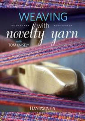 "DVD cover for ""Weaving with Novelty Yarn"" featuring a close up of a weaving shuttle and project"