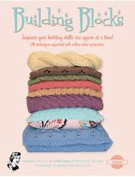 Building Blocks, 7 knitted patters, off white yarn