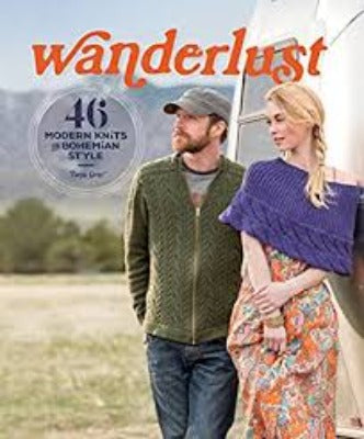 "Cover of ""Wanderlust"" with a couple wearing knitted garments and accessories"