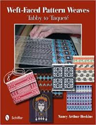 "The book cover of ""Weft-Faced Pattern Weaves"" Tabby to Taqueté,"" which features an in-progress woven project and small, woven swatches"