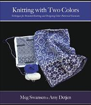 Knitting with Two Colors, Blue and White project with pattern and two yarn balls