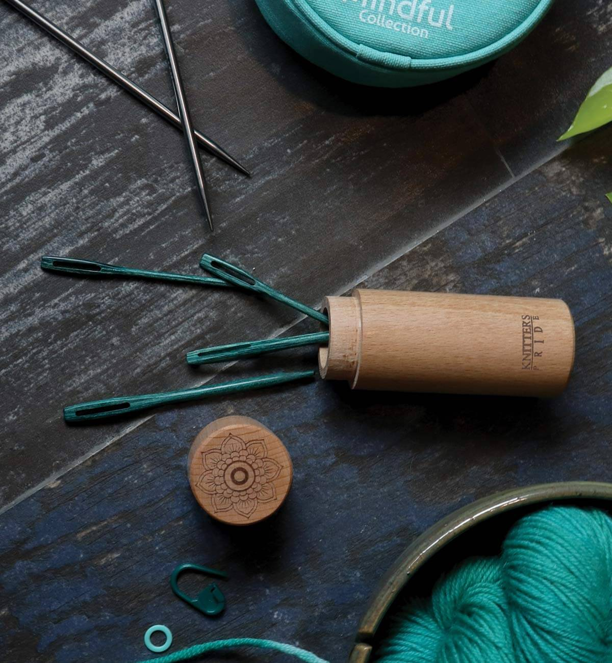 Mindful Collection Teal Wooden Darning Needles