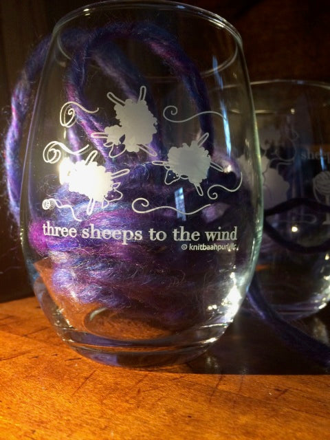 KnitBaahPurl Wine glass Three Sheeps to the Wind