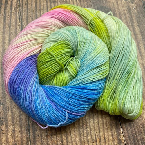 A skein of pastel colored yarn